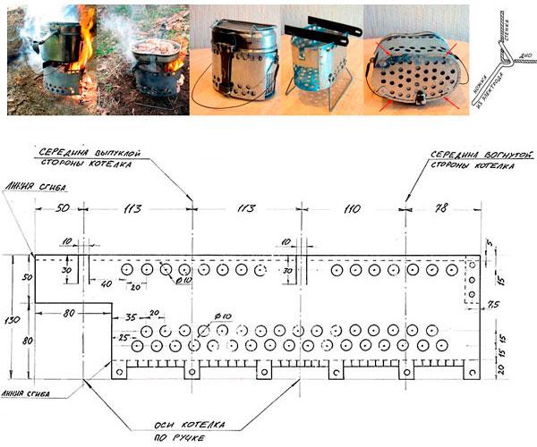 щепочница для армейского котелка чертежи размеры