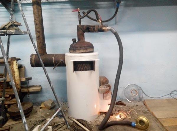 печь на отработке для гаража