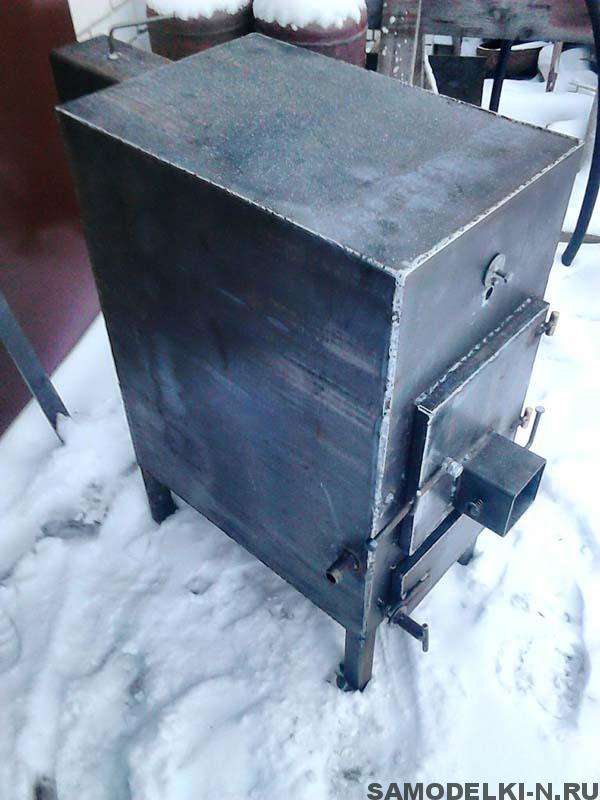самодельная печь буржуйка с водяным контуром