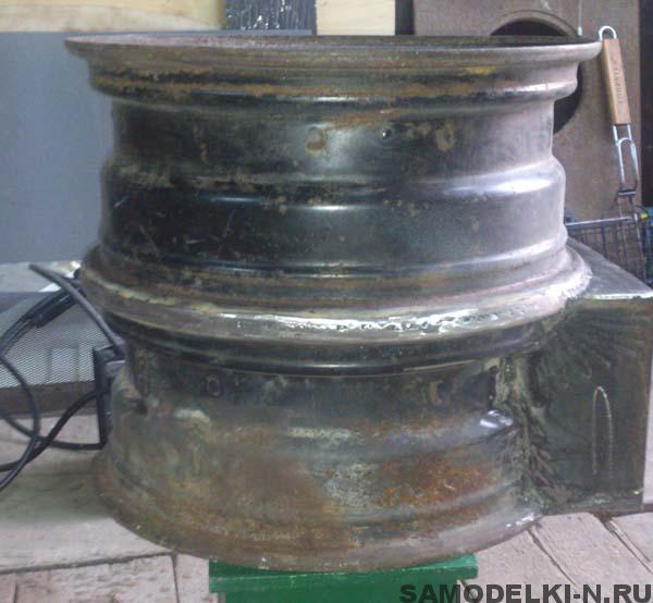 печка из автомобильных дисков