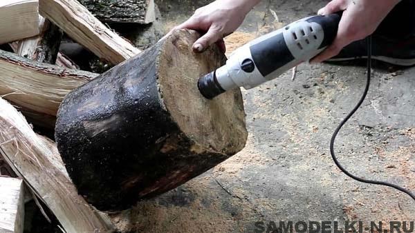 походная печь из бревна