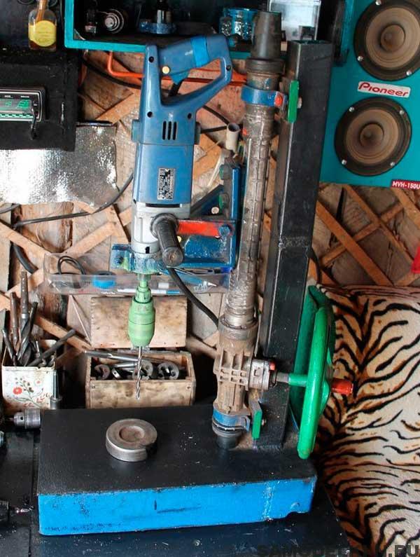 Сверлильный станок из рулевой рейки